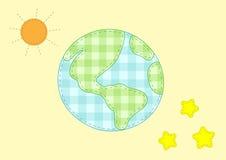 Planetenerde, -sonne und -sterne Stockfotos