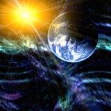 Planetenerde und -platz Stockfotos