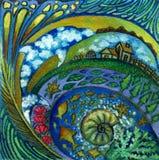 Planetenerde und -strahlen der Fantasie Art Lizenzfreies Stockfoto