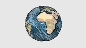 Planetenerdkugeldrehbeschleunigung der Karikatur Markierung gezeichnete auf nahtloser Animation Endlos-Schleife des weißen Tafelh vektor abbildung