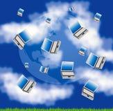 Planetenland und -himmel mit Computer Stockbilder