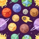 Planetenvektorplanetensystem im Raum mit Quecksilber Venuserde oder beschädigt im Planetarium und in der astronomischen Illustrat lizenzfreie abbildung
