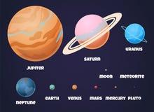 planetenzonnestelsel Vlakke tekens van planeet Jupiter in ruimteheelal met asteroïde voor wetenschappelijke informatie en royalty-vrije illustratie