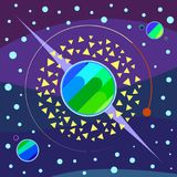 Planeter Art Illustration Multicolored Arkivfoto