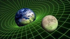Planeter för måne för jord för relativitet för spacetime för krökning för gravitationfält royaltyfri bild