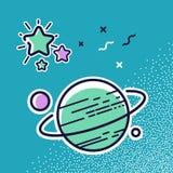 Planeter i utrymme Vektorsymbol i plan stil, illustration Arkivbild