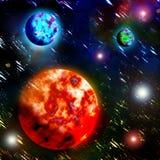 Planeter och den flammande solen stock illustrationer
