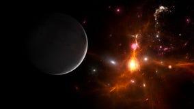Planeter och galax, sciencetapet Sk?nhet av djupt utrymme arkivfoton