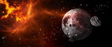 Planeter och galaxer, sciencetapet Skönhet av djupt utrymme stock illustrationer
