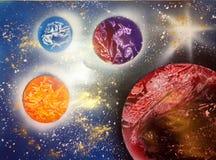 Planeter och stjärnor i utrymme arkivfoton