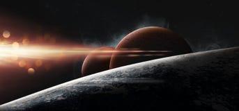 Planeter på en stjärnklar bakgrund Arkivbilder