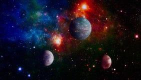 Planeter, stjärnor och galaxer i yttre rymd som visar skönheten av utforskning av rymden Beståndsdelar som möbleras av NASA royaltyfri illustrationer