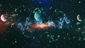 Planeter, stjärnor och galaxer i yttre rymd som visar skönheten av utforskning av rymden Beståndsdelar som möbleras av NASA - Bil royaltyfri illustrationer