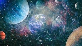 Planeter, stj?rnor och galaxer i yttre rymd som visar sk?nheten av utforskning av rymden Best?ndsdelar som m?bleras av NASA royaltyfri illustrationer