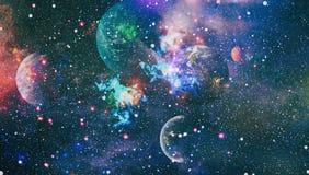 Planeter, stj?rnor och galaxer i yttre rymd som visar sk?nheten av utforskning av rymden Best?ndsdelar som m?bleras av NASA stock illustrationer