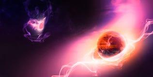 Planetevolution i yttre rymd, rött planetliv börjar med El vektor illustrationer