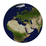 Planetjord. Europa, Afrika och Asien. Royaltyfri Foto