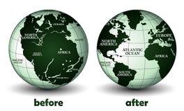 Planetjord före och efter Arkivfoton