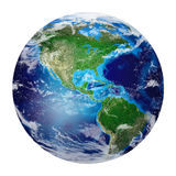 Planetjord från utrymmevisningnorden och Sydamerika, USA, Arkivfoto