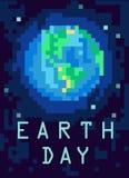 Planetjord från yttre rymd PIXEL-konst illustration royaltyfri illustrationer
