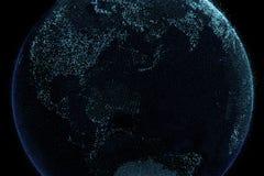 Planetjord i anslutning för digitalt nätverk, internetbegrepp vektor illustrationer