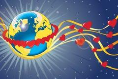 Planetjord i cirkel av rad-hjärtor. Sikt från utrymme Vektor Illustrationer