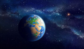 Planetjord i djupt utrymme Stock Illustrationer