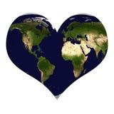Planetjord i hjärtaform Arkivbild