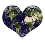 Planetjord i hjärtaform med moln Fotografering för Bildbyråer