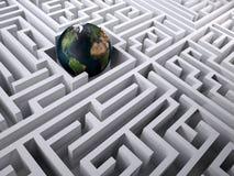 Planetjord i labyrintlabyrinten Arkivbild