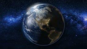 Planetjord i svart- och blåttuniversum av stjärnor Arkivfoton