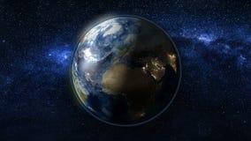 Planetjord i svart- och blåttuniversum av stjärnor Royaltyfri Fotografi