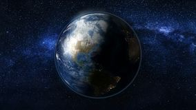 Planetjord i svart- och blåttuniversum av stjärnor Royaltyfri Bild
