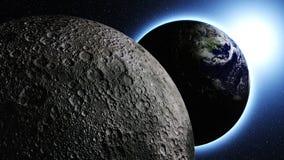 Planetjord i universum eller utrymme, jord och galaxen i en nebulosa fördunklar Arkivfoton