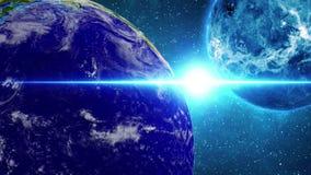 Planetjord i universum eller utrymme roterar 360 grader Jord och galax i ett nebulosamoln KRETSAD animatio royaltyfri illustrationer