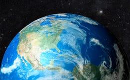 Planetjord i utrymmebakgrund stock illustrationer