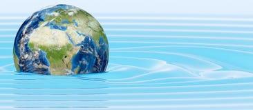 Planetjord i vatten Arkivfoton