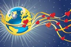 Planetjord i vigselringar och hjärtor. Sikt från Stock Illustrationer
