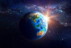 Planetjord i ytterkant avstånd Stock Illustrationer