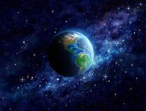 Planetjord i ytterkant avstånd Arkivbilder