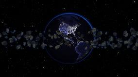 Planetjord med asteroiden i universum eller utrymme, jordklotet och galaxen i en nebulosa fördunklar med meteor Arkivfoton