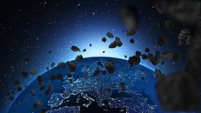 Planetjord med asteroiden i universum eller utrymme, jordklotet och galaxen i en nebulosa fördunklar med meteor Arkivfoto