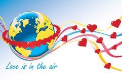 Planetjord med cirklar av hjärtor och det färgrika klappet Vektor Illustrationer