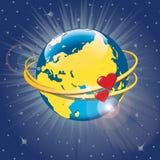 Planetjord med hjärtor i omlopp. Vektor Illustra Royaltyfri Illustrationer