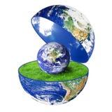 Planetjord med liten jord på vit bakgrund Arkivbilder