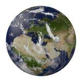 Planetjord med moln. Europa, Afrika och Asien. Arkivfoton