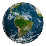 Planetjord med moln härligt dimensionellt diagram illustration södra tre för 3d Amerika mycket Royaltyfri Bild