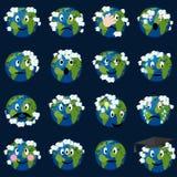 Planetjord med molnemoticonsuppsättningen royaltyfri illustrationer