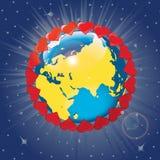 Planetjord med omlopp av hjärtor. Vektor Illustra Royaltyfri Illustrationer