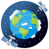 Planetjord med satelliter och stjärnor Arkivbilder